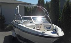 Chelan boat has been garaged every winter and serviced each fall. Includes canvas top that is still in original plastic. Air Boom Tower that folds down for storage. 3.0L I/O Mercury Engine. Karavan folding tongue
