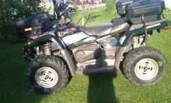 400cc, 4800 miles, atv is green, and in good shape, front and back storage container boxes included. Located in Madawaska, Maine Tires are two years old.