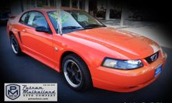 2004 Ford Mustang Premium Coupe  automatic v6, 3.9L leather seats rear spoiler air conditioning dual air bags premium wheels premium sound 40th anniversary edition power door locks power windows 133k miles  $5995.00  #199575 stk 2572
