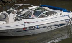 SX-175/RB 2004 Glastron 17' Runabout - Good looking and runs like a top...exceptional gas mileage and terrific power, even with a full crew aboard. Includes EZ Loader trailer & spare tire, Bimini top. bow/hull and winter covers, Lowrance depth/fish