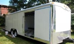 24' Enclosed Trailer, 27' total w/ tounge Dual Axle Interior Lights Spring Assist Rear Door Man Door on Side Trailer Breaks Painted White Interior Black & White Checkered VCT Floor 4 - D Ring Ties Downs on Floor Few Minor Scraches Wheelwell slightly Bent