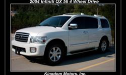 For Sale 2004 Infiniti QX 56 4 Wheel Drive NEW MICHELIN TIRES GREAT CONDITION BEAUTIFUL COLORS POWER LIFT GATE WEATHER TECH FLOOR MATS 8 cylinders Auto Transmission Exterior: Pearl White Interior: Tan Leather Wood Grain Trim >>>>>CLEAN CAR FAX >>>>CLEAN