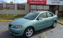 2004 Mazda MAZDA3 i Sedan 4dr. 4 Cyl., 2.0 Liter Engine, Automatic Transmission, Front Wheel Drive, Air Conditioning, Power Windows, Power Door Locks, Cruise Control, Power Steering, Tilt Wheel, AM-FM Stereo Compact Disc, Dual Air Bags, Rear Spoiler,