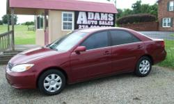 2004 Toyota Camry Looking for Luxury in a Car w// Room! This super sharp looking Luxury car has z VV.t 4 cyl, 16 Valve motor with only 168k, cloth interior, 6 disc Cd player, loaded with power options, child proof locks, anti theft system, like new tires,