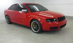 2005 Audi S4 Quattro, Only 74721 miles, 4.2 liter V8, automatic transmission with all wheel drive. Red with Black Leather Interior, Heated Power Front Seats, BOSE AM/FM/CD Sound System, Power Moon Roof, Custom Alloy Wheels with BRAND NEW TIRES, Power