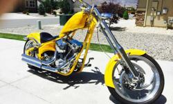 Beautiful 2005 Big Dog Soft Tail Chopper with only 4400 original miles. Bright Pearl Yellow with Flames. 117 C.I. S&S Sidewinder Engine with Baker 6 Speed transmission with right side drive, 250 Rear Tire. '05 is the first year Big Dog went with right