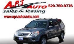http://clients.automanager.com/007066/vehicle-details/5bd46394fa0c444fae190a5797c57178 (520) 750-9776 A.P'S Auto Sales 3747 E. Speedway Blvd. Tucson, AZ 85716 2005 Honda CR-V 4-Door SUV Interior Color: Ivory Title: Clear Exterior Color: Blue Transmission: