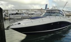 2005SeaRay390 Appealing to the eye, the 390 Sundancer features elegance in every aspect. A sleek, low- profile helm plus glove-soft cockpit seating will reinvent weekend luxury vacations or fun getaways. The gorgeously appointed