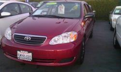 We have a beautiful burgundy 2005 Corolla CE sedan for less than $9,000! This is the most popular car in America and it's no wonder why - proven reliability and durability, outlasting most if not all of its competition! Ample room for 5 passengers,