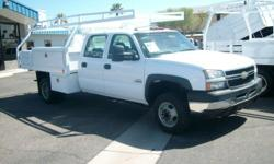 4321-p 2006 chevy crew 3500 12 FOOT contractor flatbed only 70k miles..duramax diesel allsion auto trans pow wind locks tilt..seats 6..12 foot flatbed woth royal top opening boxes and underslung boxes ladder rack...truck is in near new cond just fully