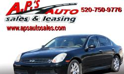 CLICK HERE FOR MORE IMAGES AND INFO: http://clients.automanager.com/007066/vehicle-details/dad0e787bbe9054aae14f83ee5859d17 (520) 323-3111 A.P'S Auto Sales 3747 E. Speedway Blvd. Tucson, AZ 85716 2006 Infiniti G35 4-Door Sedan Drivetrain: Rear Wheel