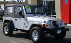 4x4 manual 4 cylinder Jeep Wrangler in immaculate condition! Soft top, premium wheels, power steering, AM/FM stereo, CD, rear seat, tilt wheel, and only 40,xxx miles! Give Chris a call/send a text to 760-822-2010 or reply to this ad with questions and to