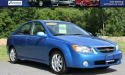 2006 KIA SPECTRA SX SEDAN Sharp Little Gas Saver! Power Windows/Locks and Mirrors! Cruise Control Alloy Wheels With Great tires! Cold A/C! Only 91K Miles! Rear Spoiler Glowing Blue Exterior VIN KNAFE121365308599 BANK FINANCING AVAILABLE !! EASY ONLINE