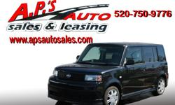 http://clients.automanager.com/007066/vehicle-details/7823e07490b449bab171a377095bf9bc (520) 750-9776 A.P'S Auto Sales 3747 E. Speedway Blvd. Tucson, AZ 85716 2006 Scion xB 4-Door Wagon Engine: I4 1.5L Transmission: Automatic Exterior Color: Black