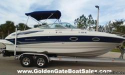 2007, 25' CROWNLINE 255 CCR with Trailer Included Single Gas MerCruiser 6.2L MPI 320HP (134 hours) Listed at Only: $28,900 Boat runs great and has been stored indoors! Fully equipped with GPS, Stereo, fresh water sinks and transom shower. Cabin includes