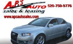 http://clients.automanager.com/007066/vehicle-details/cc546126f75c2344b91cb800f8401d37 (520) 750-9776 A.P'S Auto Sales 3747 E. Speedway Blvd. Tucson, AZ 85716 2007 Audi A4 4-Door Sedan Exterior Color: Silver VIN: WAUDF78E37A054323 Drivetrain: All Wheel