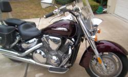 This is a one owner cruiser with only 2500 miles. Black leather saddle bags--windshield ferring --Chrome sissy bar  Call 904-310-0894 for pics and other info.