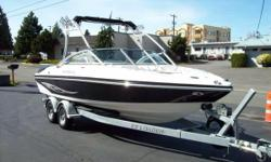 208 hours, Volvo Penta 5.0 with Stainless DualProp inboard/outboard, Silent Exhaust feature, new Fresh Water Cooling system, new dual batteries, new impellor, new spark plugs and fuel filter, walk thru has solid hinged windbreak panels, Clarion satellite