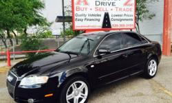 Black 2008 Audi A4 2.0T. 125,000 miles, black interior, manual 6-speed. For more information visit our website at www.azdrivellc.com.