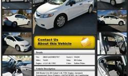 Honda Civic DX Sedan Automatic 5-Speed Taffeta White 76623 4 Cyl 1.8L VTEC2009 Sedan Crossroads Ford 518-756-4000