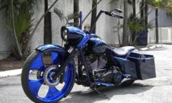 One of a kind BAGGER built with the best of the best. Stretched, Raked, Lowered - 103 with Motor Work This bike was built at Eddie Trotta's Thunder Cycle. Only the BEST parts, labor and design went into this: 103 Cubic Inch Motor with RSD intake and