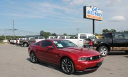 2010 Red Ford Mustang GT 103867 Mileage, 19 Inch tires, 4.6 Motor, 8 Cylinder automatic, 2 Wheel drive, Fog lights, Power windows, Rear defogger, Rear spoiler, Power door locks, Window tint, Remote keyless entry, CD player, Navigation system, Sirius