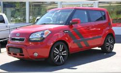 """2011 KIA SOUL + Hamstar Edition! Very Cool! Red Exterior! Black Heated Leather Interior! Power Moonroof Mood Lighting With Sound System! 18"""" Alloy Wheels! Factory Audio Upgrade Package! Sub Woofer Exterior Graphics Matte Black Fuel Door Push Button Start"""