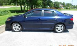 2011 Toyota Corolla S, only 49,100 miles. Clean, clear titile. One owner, non smoker, excellent inside and out. Blue paint, black interieor, no tears/stains. Slight body crease left rear driver side.Non important really. Estimate in hand for you to