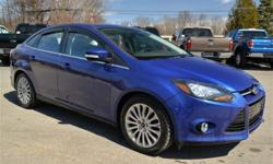CERTIFIED PRE-OWNED!! 2012 Ford Focus 'Titinium' Sedan!! Winter Package; Power Moonroof; Heated Seats; Remote Starter; Power Driver Seat; Power Windows; Locks; and Mirrors; Push Button Engine Start/Stop; 'Sony' Sound; Dual Climate Control; Sync;