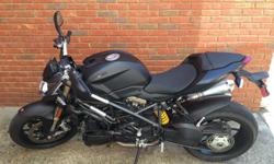 2013 Ducati Streefighter 848, Black 1,715 miles. RPM restrictions were followed during the engine break-in period and the maintenance schedule has been followed. The bike has been garage kept and covered. There are no aftermarket additions or