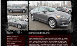 Ford Fusion SE 4dr Sedan Automatic 6-Speed Sterling Gray 20887 I4 1.6L I42013 Sedan RHINEBECK FORD, INC. 845-876-4440