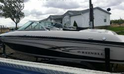 21' long, 225 V8 Volvo Penta motor, canopy top included, extended wade platform with water ladder, seats approximately 10.
