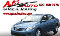 http://clients.automanager.com/007066/vehicle-details/77aacedd339d4ee68239f12980af0d4c (520) 750-9776 A.P'S Auto Sales 3747 E. Speedway Blvd. Tucson, AZ 85716 2013 Toyota Corolla LE 4-Door Sedan VIN: 5YFBU4EE8DP079826 Transmission: Automatic Interior