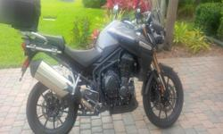2013 Triumph Tiger Explorer 1200 LCD instrument pack with digital speedometer, analogue tachometer, gear position indicator, fuel gauge, range to empty, service indicator, clock, air temperature, frost warning, hazard warning lights, trip computer, Tyre