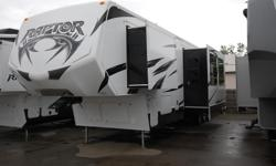 2014 Raptor 377SE Triple Slide Toy Hauler Fifth Wheel with 12'' Garage and Twin Loft Be. The Number 1 selling fifth wheel toy hauler specializes in one thing only - offering you most innovative, comfortable, eye-popping sport utility vehicle on the market