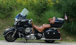 BEAUTIFUL THUNDER BLACK 2015 ROADMASTER IN EXCELLENT CONDITION. THIS BIKE HAS THE LEATHER TANK BAG, REAR MUD FLAP AND LEATHER GRIP COVERS, CHROME FOOT PEGS AND REAR FLAG MOUNT. 5850 MILES. IT IS ADULT OWEND AND GARAGE KEPT.. BIKE IS LOADED WITH STANDARD