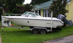 1995 century 2100 dc with 1999 yamaha saltwater series 2. This boat can go anywhere , Bay Minnette creek to way offshore . Mom and the kids can layout in the built in cushioned lounger in frontwhile you fish . Built in live well ,
