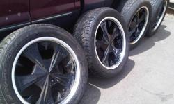 22 inch rims and tires in great shape. 8 bolt pattern fits Dodge 4 x 4 or Ford 2 x 4 Excursion $1500.00 OBO