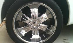 """Selling 4 tires and chrome rims. 22"""" tires and rims in perfect condition. Asking $800 OBO Call or text Carlos at 209-751-6563"""
