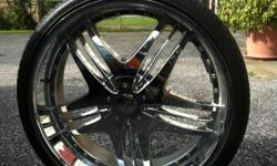 Practically new. Set of 4, 24-inch Chrome Rims. Never been in snow. Pictured with tires that are not included.