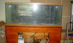 240 gal glass fish tank, maple wood stand, wet dry,3 boxes accesseries,#12 5 gal buckets coral