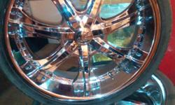 """24"""" chrome rims, in excellent condition.no dents or dings..tires about 65%.have all center caps..tires are 275/30/24.too wide for my car..will trade for rims and tires in similar condition.preferably 255/30/24 or 255/25/24..serious callers only please.."""