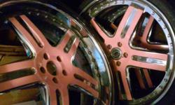 "5�120 bolt pattern 24"" chrome and pink"