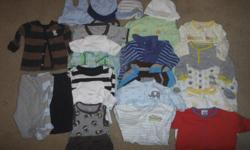 25 pieces of never/gently used 3 month boys clothing. Smoke and pet free home. Includes: 10 PJ footie sleepers 2 onsies 3 shorts rompers 1 tank top onsies + 1 matching shorts 3 pants 1 long sleeved button up shirt 4 hats Any questions/more pictures e-mail