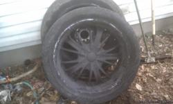 ! have 2 22in wheels and tires.They are Blk & have universal lug pattern.Sum curb scuffs. Decents tread life on tires