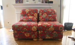 Two lovely bright red flower chairs for sale. Great condition, great deal, 2 for $100.00