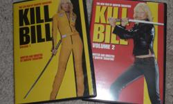 For sale, 2 DVD's Kill Bill v 1 & 2 with Uma Thurman and David Carradine. Both DVD's are in excellent condition and have not been viewed.