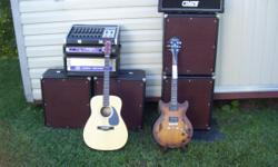 On sale is music equipment that was well taken care off. My intension is to sell all of the equipment as a package deal. Here are the items: - Brand New Ibanez Artcore electric guitar with a new guitar case; - Yamaha F-35 acoustic guitar with a case in