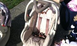 babytrend infant car seats! Only 1 year old and in great condition! One is pink with flowers and the other one purble with butterflys. Paid new $120.