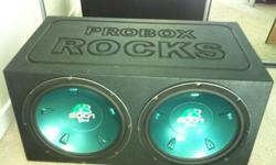 """2 BRAND NEW 15"""" HOLLYWOOD RS 2001 SUBS! BARELY USED PROBOX. BEST QUALITY SPEAKER BOX GUARANTEED! $350 Value for $175! Don't miss this deal! Call (404)702-9265 if interested Subs info: 800 WATTS MAX 4 OHM 600 RMS"""